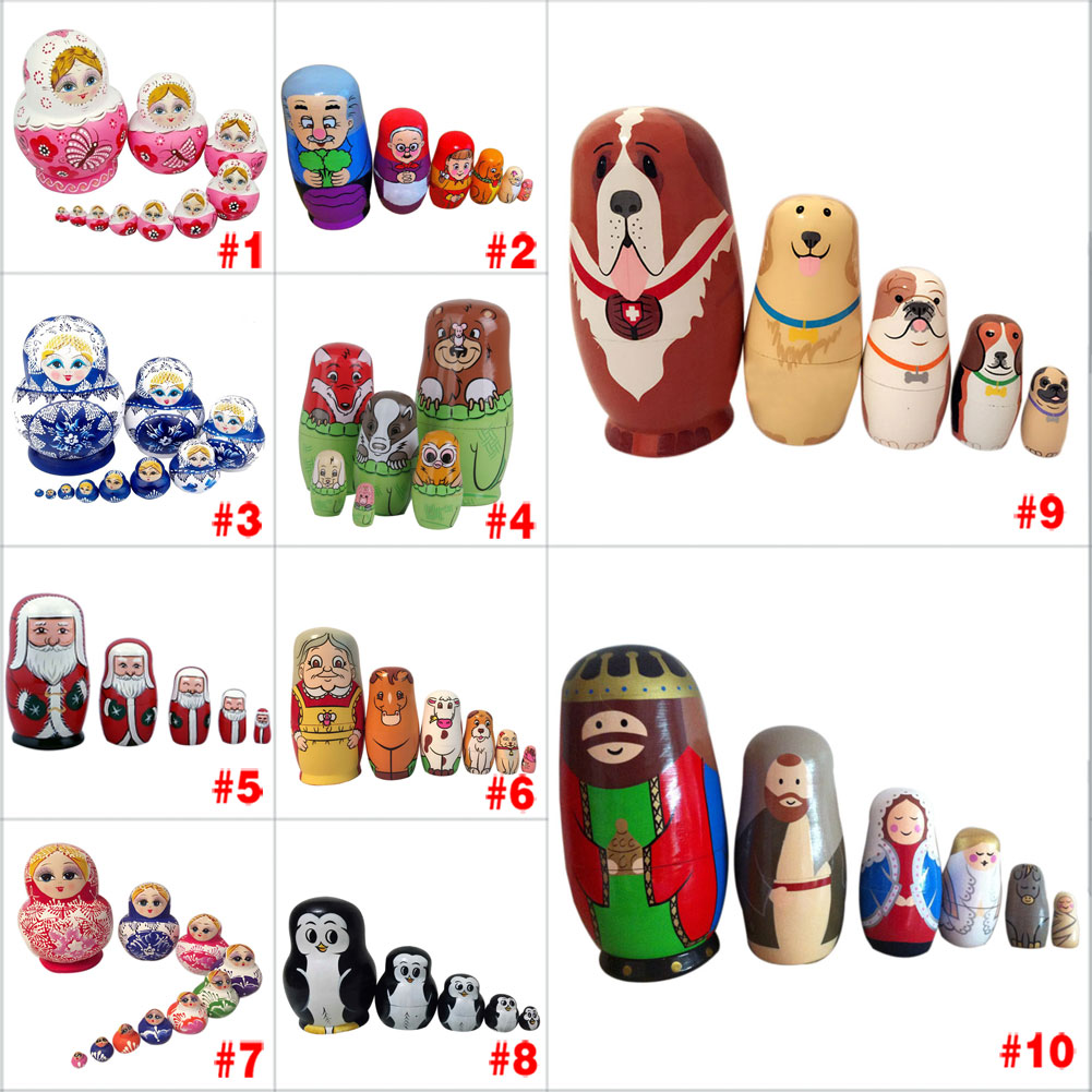 New Style Baby Toy Nesting Dolls Wooden Matryoshka Set Russian Dolls Hand Painted Home Decoration Birthday Gifts Happybuy(China (Mainland))