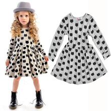 2016 New Spring Autumn European Style Cartoon Print Baby Girls Casual Dresses Long Sleeve Grey Cotton Toddler Girl Clothing Cat