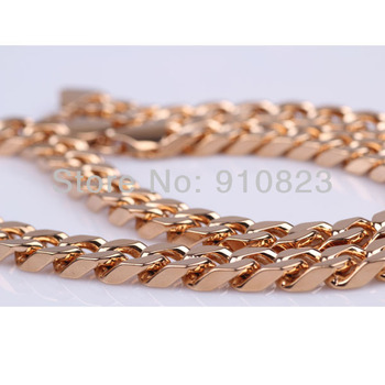 thick heavy men's  necklace 18k gold filled curb link chain top quaity nice chrstmas gift to boy friend