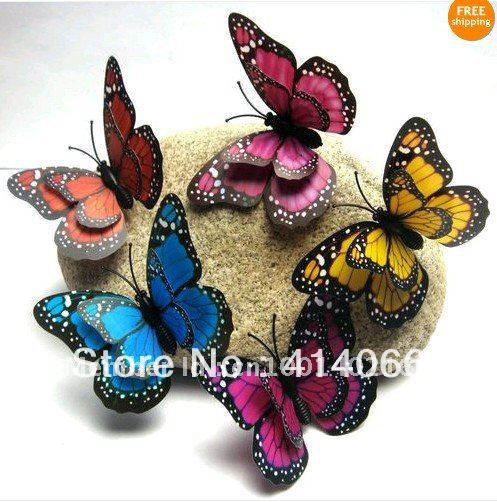 Hot& wholesale free shipping 48Pcs 3D wall stickers butterfly fridge magnet wedding decoration home decor Room Decorations(China (Mainland))