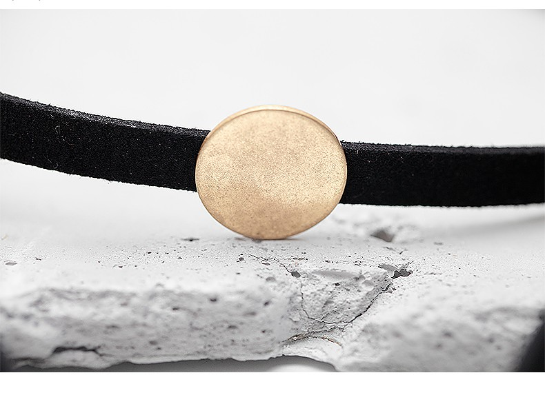 WILD & FREE Women Black Suede Choker Necklace Simple Gold Round Pendant Long Chain fashion velvet chokers for women jewelry Gift