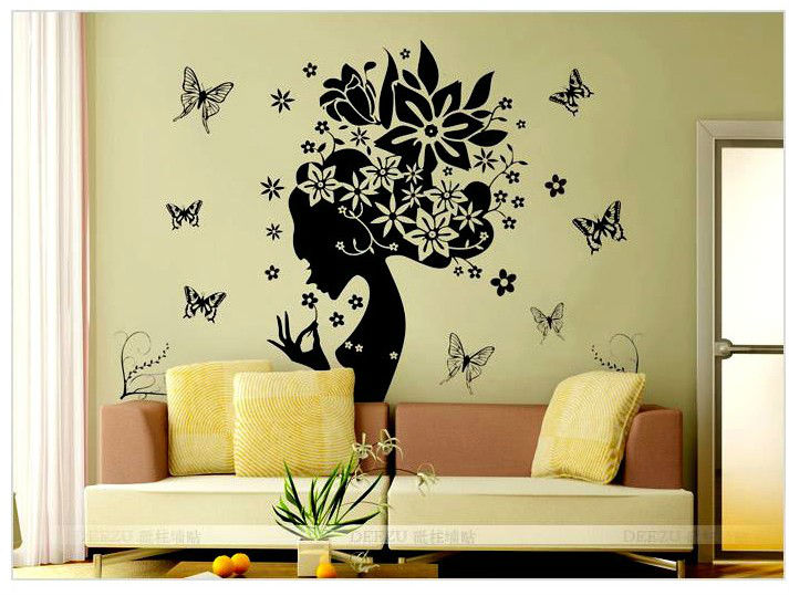 Butterfly flower home decor wall sticker princess love for Large kitchen wall decor