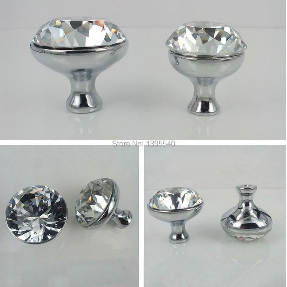 New 10pcs k9 30mm clear crystal cabinet knobs furniture drawer handles glass wardrobe pulls Glass furniture pulls