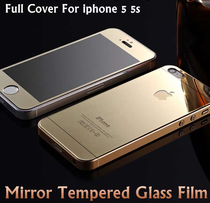 For iphone 5s Color Film Mirror Glass Screen Protector LCD Screen Safeguard Front and Back Protective film Cover For iPhone 5 5s(China (Mainland))
