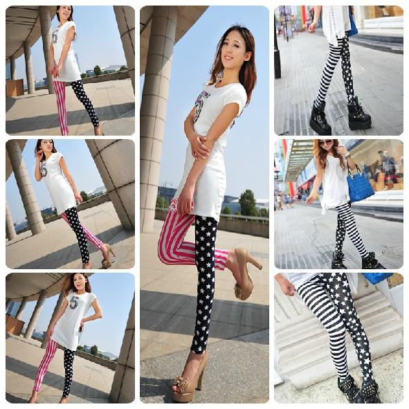 Min Order $15 Personality stripe splicing fashion stars leggings nine points feet pants free shipping(China (Mainland))