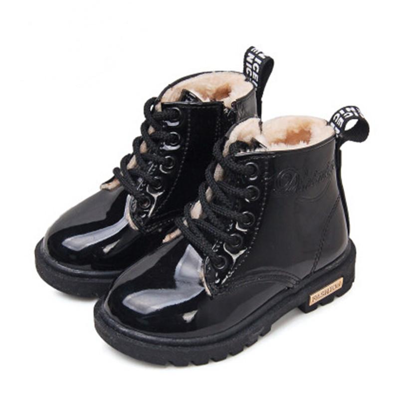 2015 New Winter Children Shoes Snow Boots PU Leather Waterproof Rubber Boots Kids Bota Boys Girls Martin Boots(China (Mainland))
