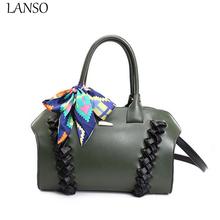 Brand New Spring 2017 Boston Fashion Handbag Woven Scarf New Handbag Designer High Quality Leather Shoulder Bag Boston Bag(China (Mainland))