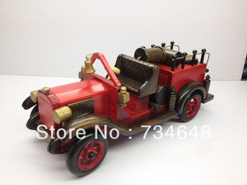 Handmade Wooden Decorative Home Accessory Classic Vintage Style Fire Truck Model