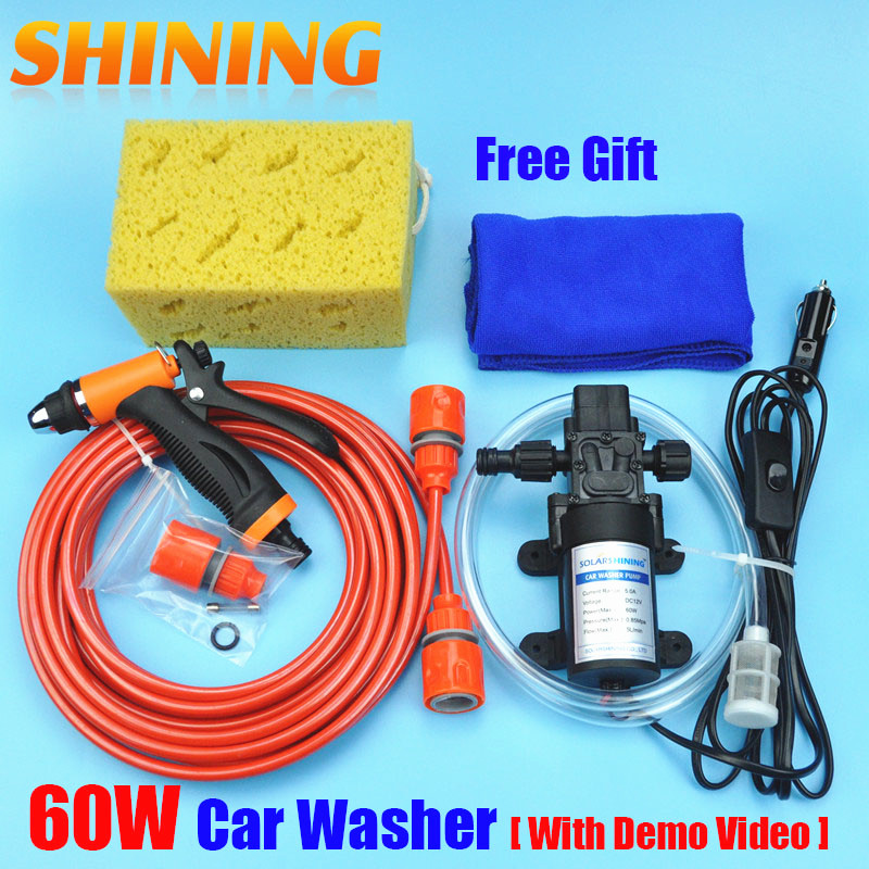 Free Shipping High Pressure Self-priming Electric Car Wash Washer Water Pump 12V Car Washer Washing Machine Cigarette Lighter(China (Mainland))