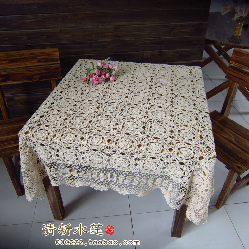 Free Shipping Hot selling 100% cotton hand knitting Crochet tablecloth 140x140cm Table cover table cloth(China (Mainland))