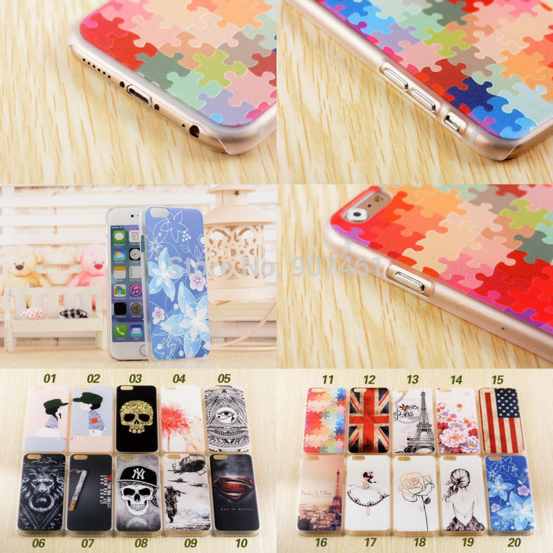 """New Fashion for Apple iPhone 6 4.7"""" 3D relief painted pattern ultra thin back cover case skin for iphone6 4.7 inch 6G Shell(China (Mainland))"""