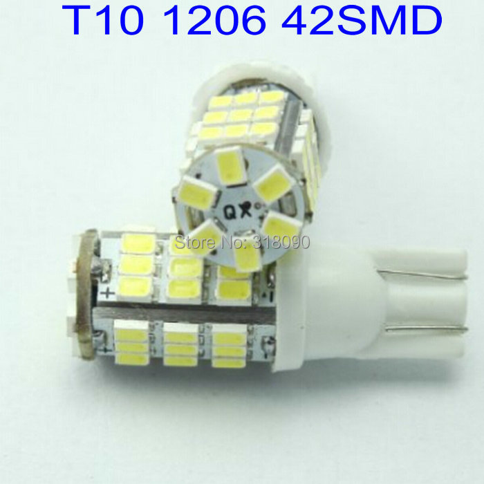 Super Bright!! 50PCS T10 1206 42 SMD 194 168 LED light Bulbs Reading Light 42 LED Interior Lamp White Auto Led Car Door Light(China (Mainland))