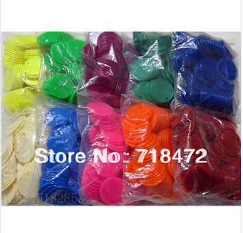 2015 new Ordinary plastic poker chips (100 pcs / bag) game tokens ten Optional 10 colors free shipping(China (Mainland))