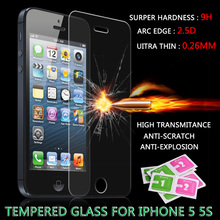 For iPhone 5s glass 0.26 mm on the for iphone 5s tempered glass screen protection film for iphone 5/5s glass screen protector