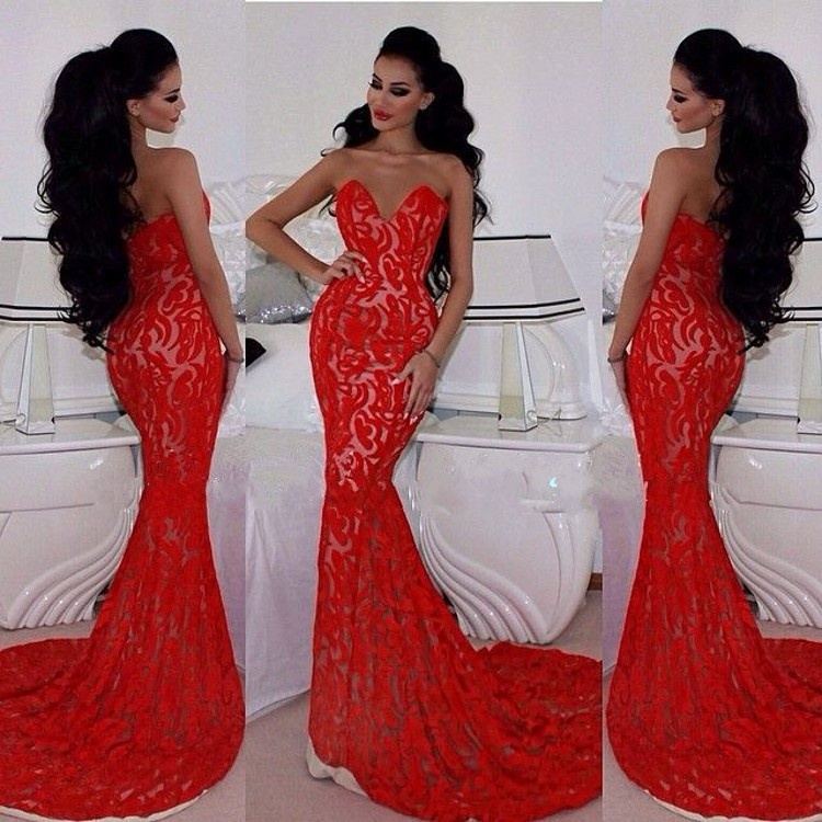 Compare Prices on Lace Red Mermaid Prom Dresses- Online Shopping ...