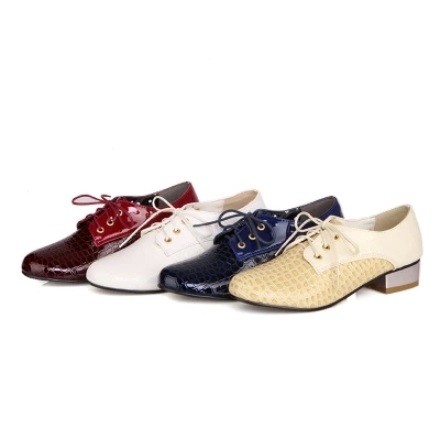 New Fashion Crocodile Pu Leather Round Toe Lace Up Women Oxfords Elegant Patchwork Low Heeled Oxford Shoes For Women Size 34-43<br><br>Aliexpress