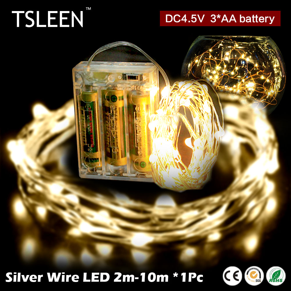 TSLEEN String Light 10m 100Leds Silver Wire Fairy With 4.5V Battery Powered LED Strip For Home Furnishings Room Decoration Light(China (Mainland))