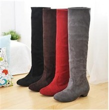 Autumn single boots female spring and autumn 2012 25pt high-leg boots flat heel scrub red black 7(China (Mainland))
