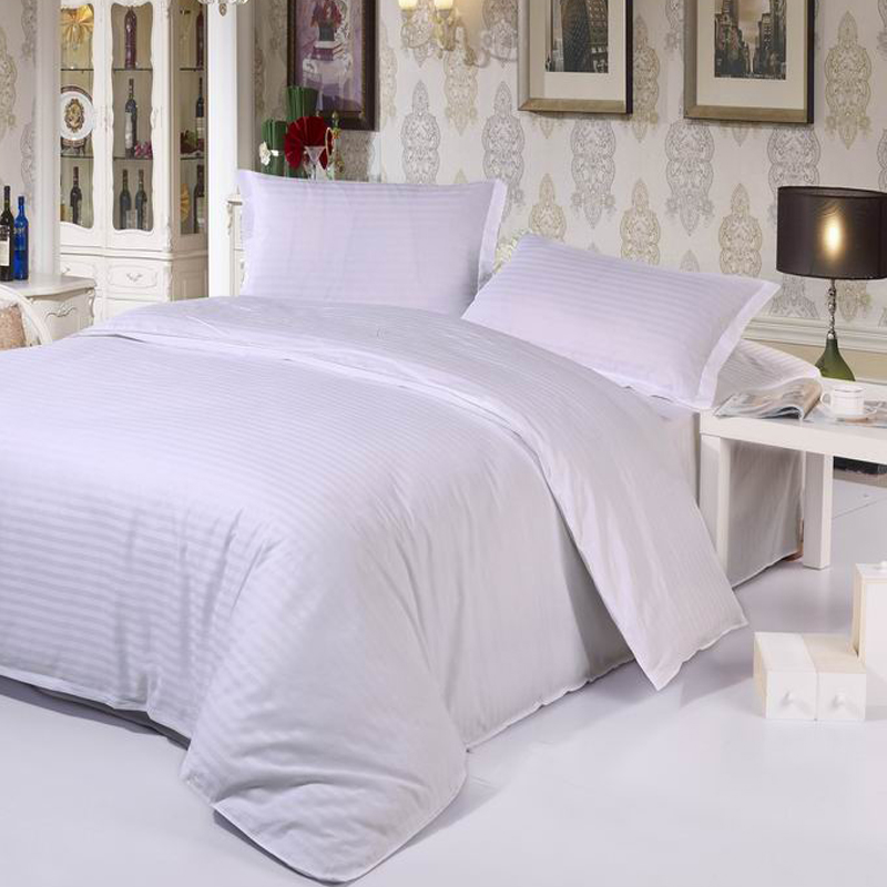hotel hospital duvet cover set solid color fitted sheets set 40S satin cotton bedding set Twin/full/Queen/King size(China (Mainland))