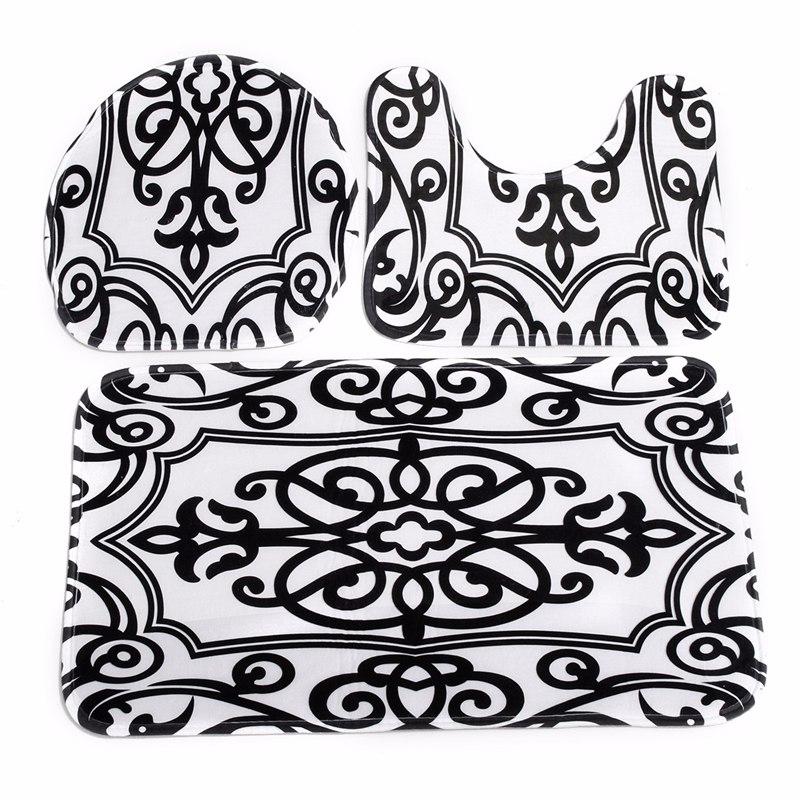 toilet mat seat cover bathroom non slip contour rug set
