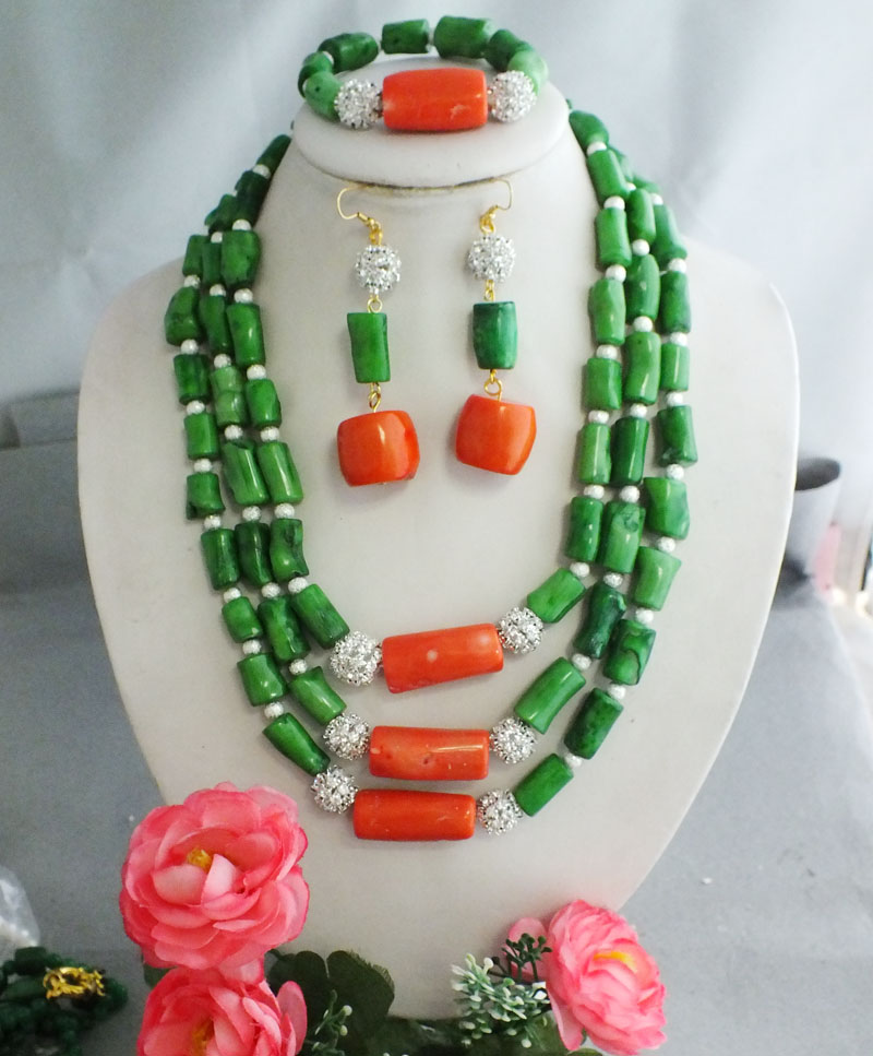 G*G-2165 green main color mixed pink coral tube luxury Indian jewelry set!(China (Mainland))