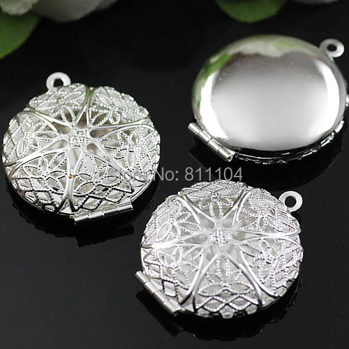 20mm New Rhodium tone Plated Blank Round Filigree Hollow Wish Prayer Box Photo Frame Locket Pendant Charms Findings Wholesale(China (Mainland))