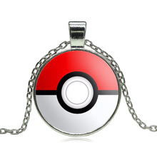Pokemon Inspired Pendant Necklace Glass Cabochon Round Pendant accessories Silver chain necklace for Women vintage jewelry