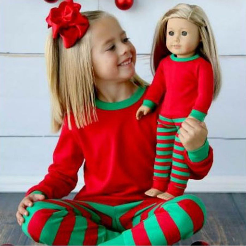 2016 Children Clothing Set Girls boys Outfits Pajamas Red Striped Christmas Style Soft Cotton Fabric Kids Sleepwear - Baby and Store store