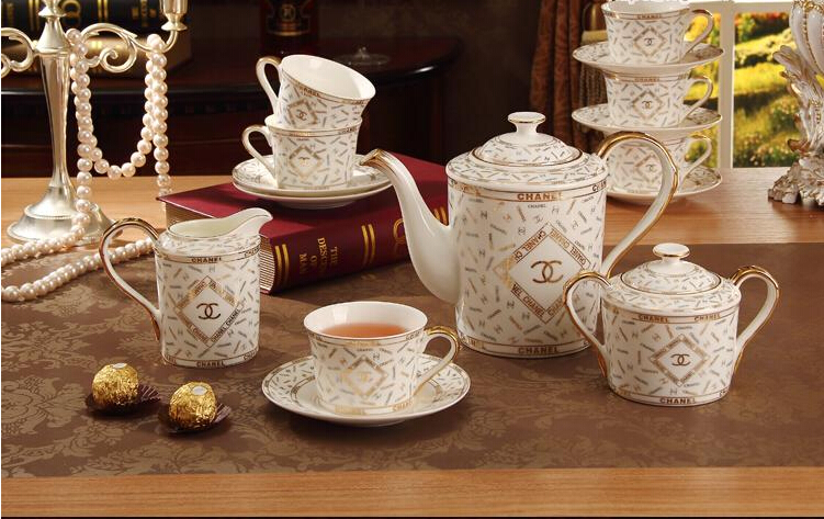Porcelain coffee set bone china double C design 15 pieces European tea set coffee pot coffee