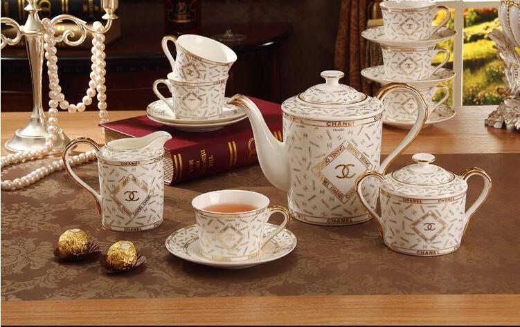 porcelain coffee set bone china double c design 15 pieces european tea set coffee pot coffee. Black Bedroom Furniture Sets. Home Design Ideas