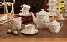 "Porcelain coffee set bone china double ""C"" design 15 pieces European tea set coffee pot coffee cup saucer set"