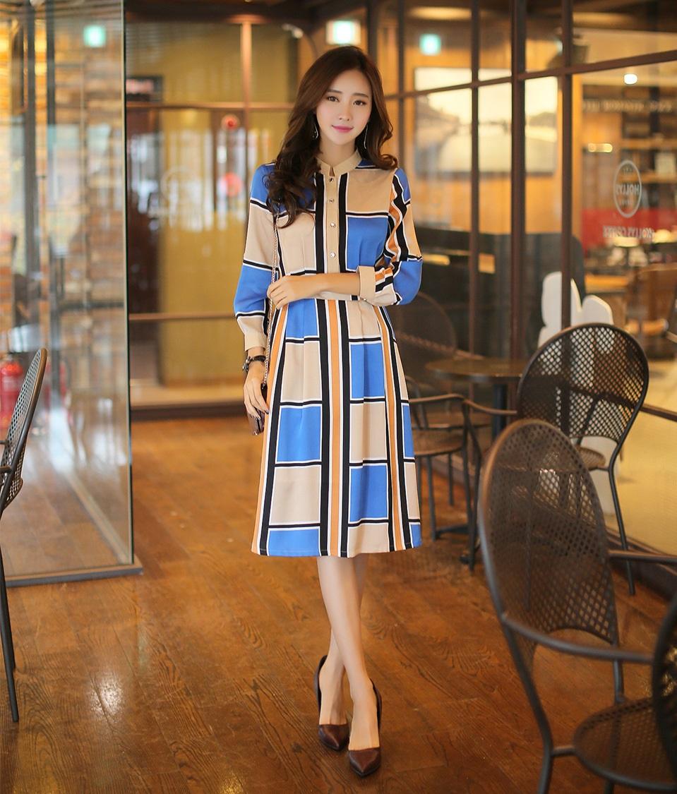 New 2016 Spring Summer Fashion Women Dresses Casual Office Ladies Plaid Dress Korean Style Knee
