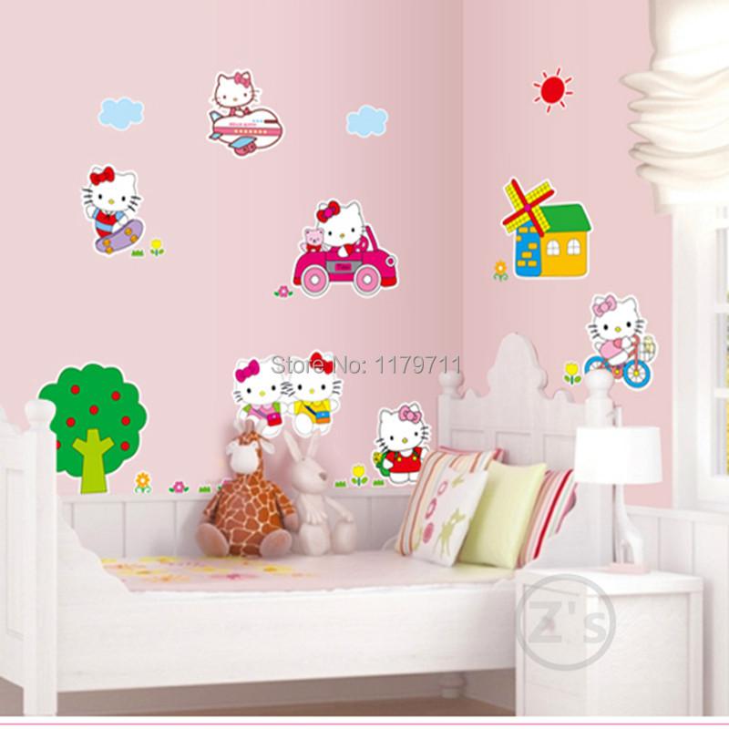 Kt Cat Hello Kitty Bedroom Decor Wall Sticker For Girls
