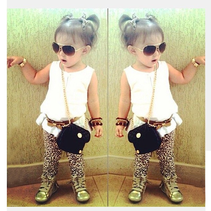2015 fashion summer girls clothing set toddler baby girls sleeveless tops t shirt+leopard print pants+belt children clothing set(China (Mainland))