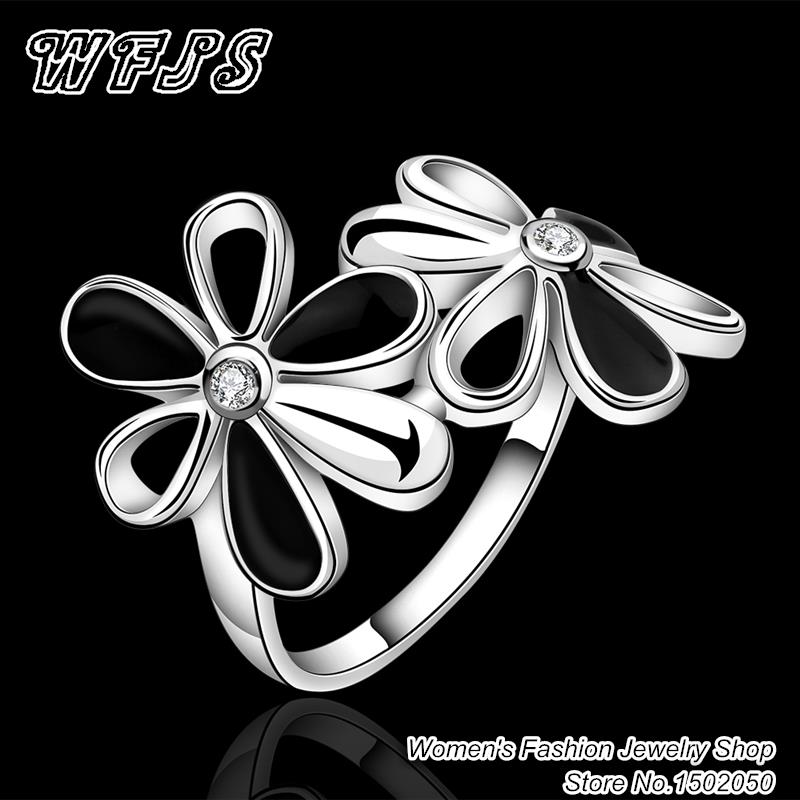 Hot sale! 925 Sterling Silver Inlaid Stone Ring Fashion flower CZ Diamond Rings For Women best Gift R631-8(China (Mainland))