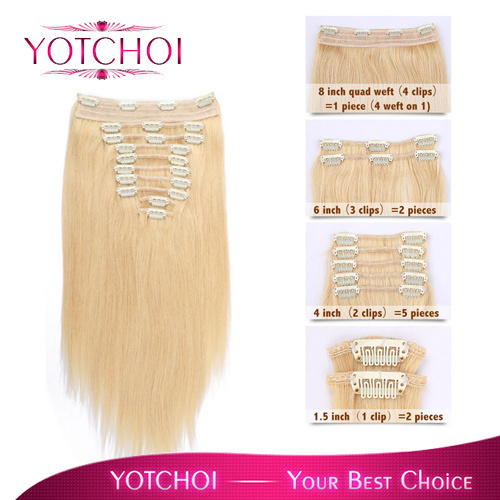 12 - 26 Clip in hair extensions brazilian weave 22# Blonde 10PCS 120g/piece clip hair DHL free shipping<br><br>Aliexpress