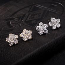 Women lady chic crystal rhinestone flower ear ring Ear stud Earring Ear Studs