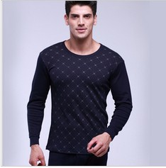 Men's thermal underwear male full 100% basic thin cotton sweater long johns set