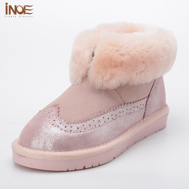 2015 New Fashion sheepskin leatehr fur lined short ankle girls snow boots for women winter shoes flats free shipping black pink(China (Mainland))