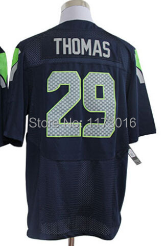 Seattle #29 Earl Thomas Men's Authentic Elite Team Navy/White/ Football Jersey(China (Mainland))
