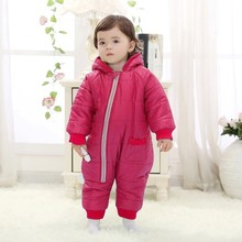 Baby Real Thick Rompers For Winter Cotton Padded One Piece Children Kids Jumpsuit Old 4color 2015 New Fashion Freeshipping(China (Mainland))