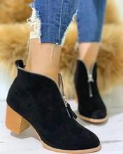 Marka Büyük Boy 35-43 serin akın leopar fermuar Kadın Ayakkabı Kadın moda tıknaz topuklu eğlence Sonbahar yarım çizmeler kadın patik(China)