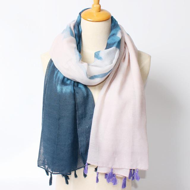 Новый шарф повелительниц мода градиент цвета обертывания свежий кисточки накидки солнцезащитные платки 180 * 105 см