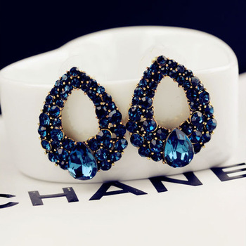 2015 New arrival Celebrity wind drops Sapphire blue rhinestone fashion boutique crystal stud earrings for woman