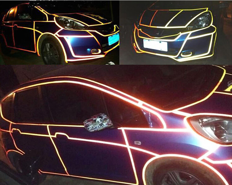 1cm*45m Reflective Sheeting Tape Sticker Car Styling Body Warning Truck Auto Parts Automotive Decal Reflection Color Decoration(China (Mainland))