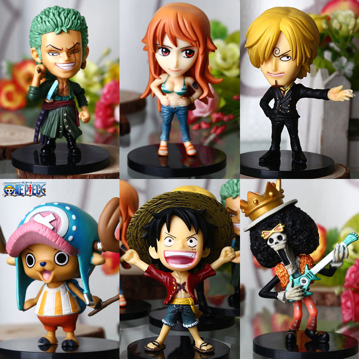 One Piece  Cheap Hot Sale Puppet Six Members 8.5cm Q Edition Dolls PVC Action Figure Model Collection Toys Present(China (Mainland))