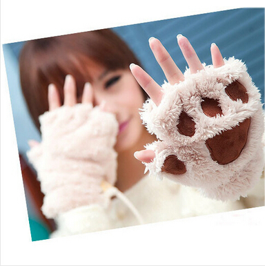 Woman Winter Fluffy Bear/Cat Plush Paw/Claw Glove-Novelty soft toweling lady's half covered gloves mittens christmas gift(China (Mainland))