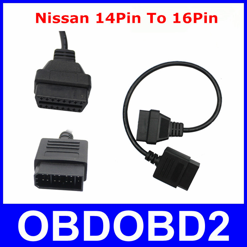 For Nissan 14 Pin To 16Pin Cable OBD II Diagnostic Interface For Nissan 14Pin To OBD2 16 Pin Adapter Works For Nissan Vehicles
