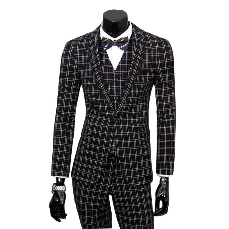 2015 New Arrival Men Wedding Plaid Suits Contain Blazer+Pants+Vests 3 Piece Suits Men Business Party Suits Ternos masculino 285R