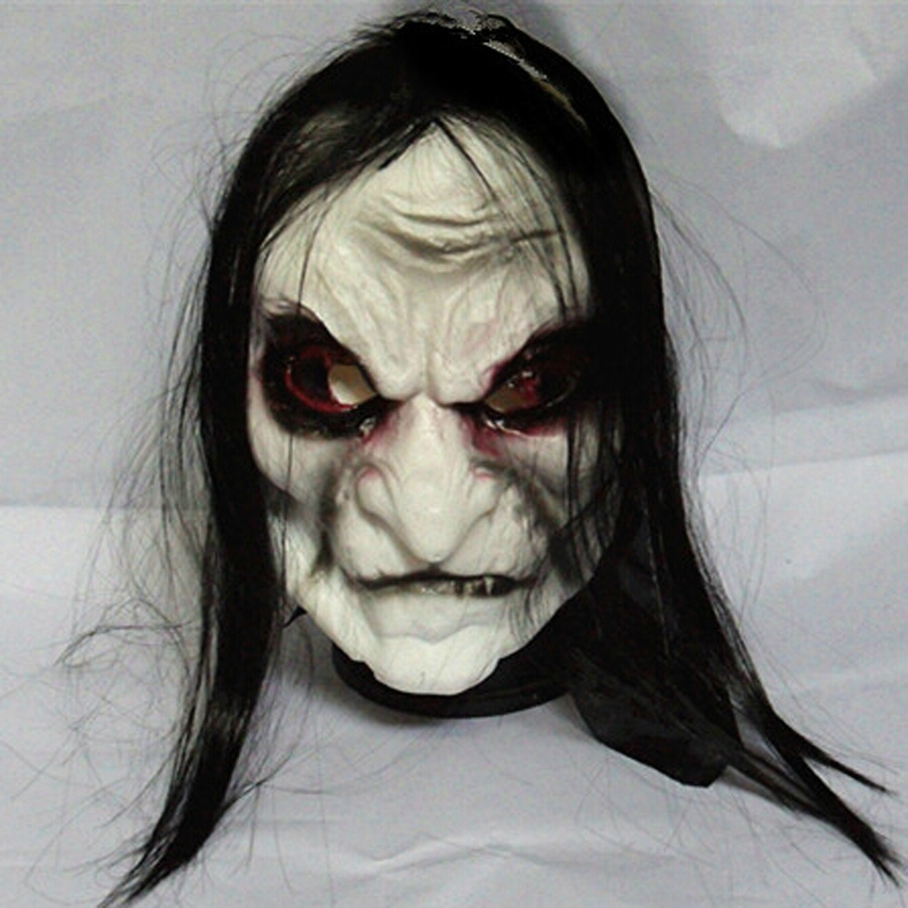 Funny Halloween Mask Prank Prop Long Black Hair Devil Ghost Cosplay Face Full Head Mask Horrible latex soft Mask Prop Costume(China (Mainland))